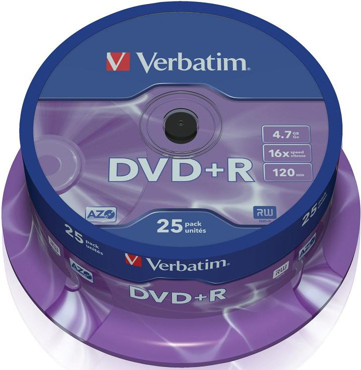 Диск DVD+R Verbatim 4.7Gb 16x Cake Box (25шт) (43500)