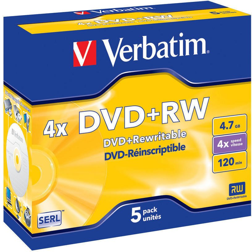 Диск DVD+RW Verbatim 4.7Gb 4x DataLife+ Jewel Case (5шт) (43229)